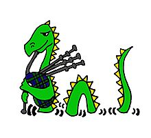 Funny Loch Ness Monster Playing the Bagpipes Photographic Print