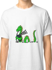 Funny Loch Ness Monster Playing the Bagpipes Classic T-Shirt