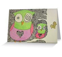 Owl Family Doodle Greeting Card