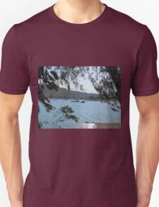 Boats on the water through trees T-Shirt