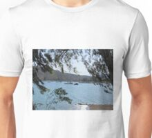 Boats on the water through trees Unisex T-Shirt