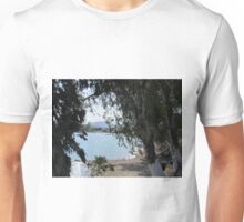 Through trees boats on the water Unisex T-Shirt