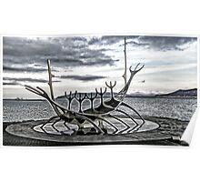Viking ship sculpture, Reykjavik, Iceland Poster