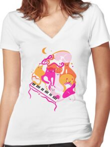 Jazz Cats Women's Fitted V-Neck T-Shirt