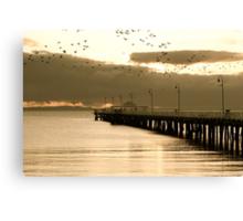 Cormorants over Pier Canvas Print