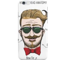 Humorous Hipster head structure. Free font used.  iPhone Case/Skin