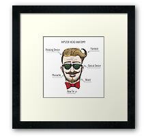 Humorous Hipster head structure. Free font used.  Framed Print