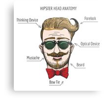 Humorous Hipster head structure. Free font used.  Metal Print