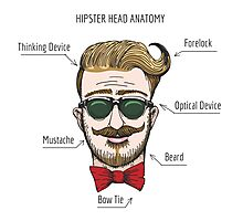 Humorous Hipster head structure. Free font used.  Photographic Print