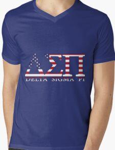 Delta Sigma Pi American Flag Mens V-Neck T-Shirt