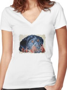 Bonnie the Rottweiler Women's Fitted V-Neck T-Shirt