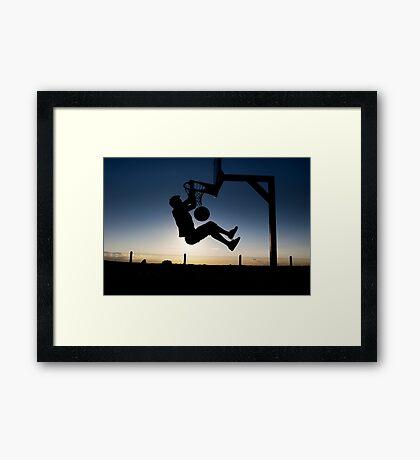 Sunset Basketball Dunk Framed Print