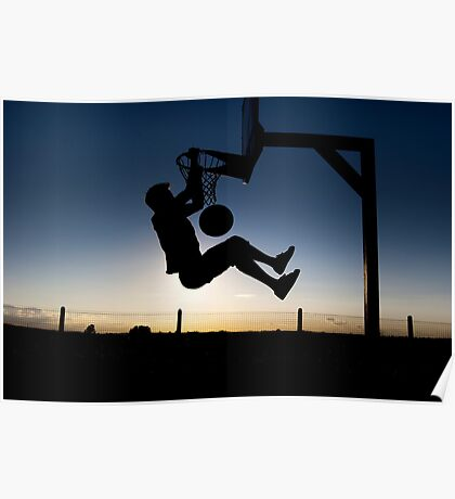 Sunset Basketball Dunk Poster
