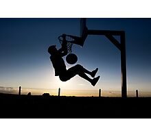Sunset Basketball Dunk Photographic Print