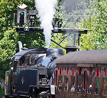 Steam Train pulling away from station by Paul Collin