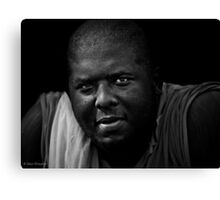 Another day, another heavyweight boxer who's early morning workout begins with lifting some light weights: his twin daughters Canvas Print