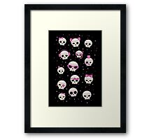 Cute Skulls with Pink Accessories Framed Print