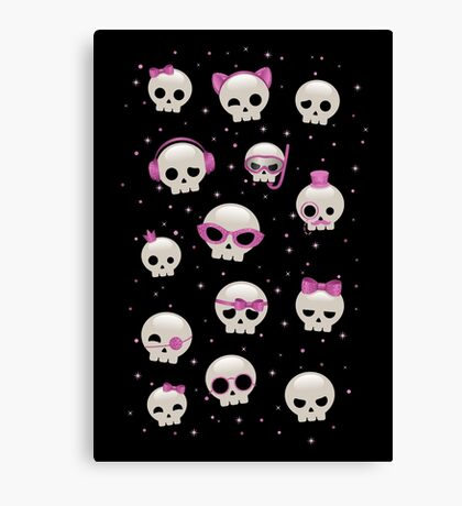 Cute Skulls with Pink Accessories Canvas Print