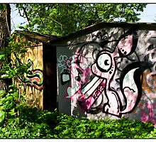 Garage Graffiti, Dzirciems, Rīga, Latvia. (2011) by Madeleine Marx-Bentley