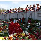 Flowers at the Monument, May 9 (Victory Day) 2011, Rga, Latvia.  (2011) by Madeleine Marx-Bentley