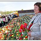 Flowers at the Monument 3, May 9 (Victory Day) 2011, Rīga, Latvia.  (2011) by Madeleine Marx-Bentley