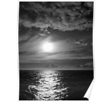 Ocean Sunset in Black & White Poster