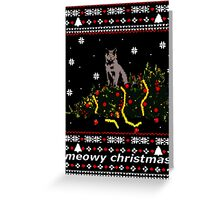 ugly sweater - christmas tree knocked down by a cat Greeting Card