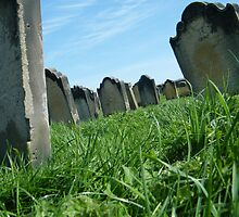 sunny grave yard in Whitby by Alice Thorpe