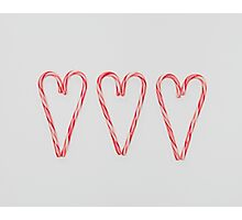 Candy Cane Hearts Photographic Print
