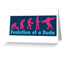 Evolution of a dude pink Greeting Card