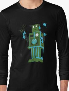 Green Tin Robot Splattery Shirt or iPhone Case Long Sleeve T-Shirt