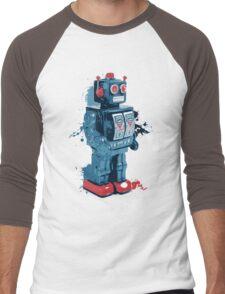 Blue Toy Robot Splattery Shirt Men's Baseball ¾ T-Shirt