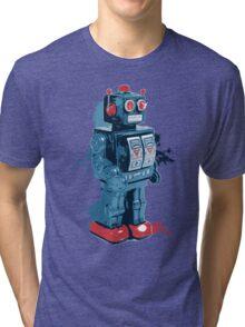 Blue Toy Robot Splattery Shirt Tri-blend T-Shirt
