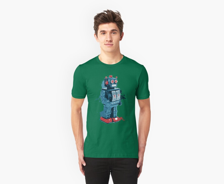 Blue Toy Robot Splattery Shirt by thedailyrobot