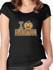 I Love Halloween Spooky Pumpkin  Women's Fitted Scoop T-Shirt