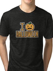I Love Halloween Spooky Pumpkin  Tri-blend T-Shirt