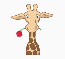 Giraffe holding a rose Womens Fitted T-Shirt