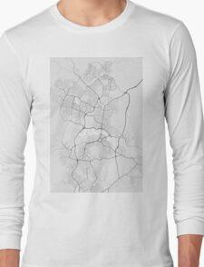 Canberra-Queanbeyan, Australia Map. (Black on white) Long Sleeve T-Shirt