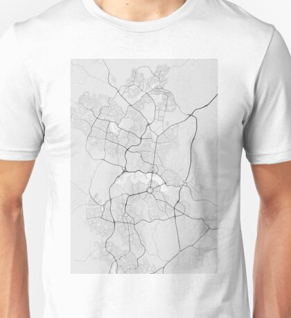 Canberra-Queanbeyan, Australia Map. (Black on white) Unisex T-Shirt