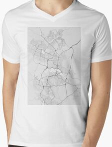 Canberra-Queanbeyan, Australia Map. (Black on white) Mens V-Neck T-Shirt