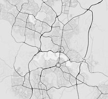 Canberra-Queanbeyan, Australia Map. (Black on white) by Graphical-Maps