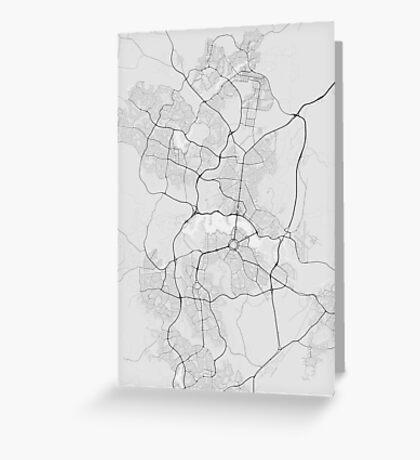 Canberra-Queanbeyan, Australia Map. (Black on white) Greeting Card