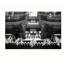 Buddha Tooth Relic Temple in Black and White Art Print