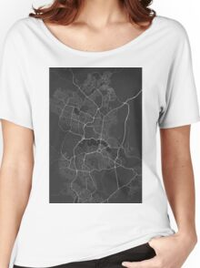 Canberra-Queanbeyan, Australia Map. (White on black) Women's Relaxed Fit T-Shirt