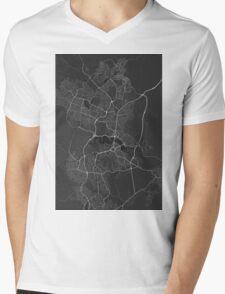 Canberra-Queanbeyan, Australia Map. (White on black) Mens V-Neck T-Shirt