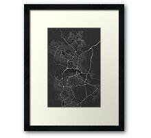 Canberra-Queanbeyan, Australia Map. (White on black) Framed Print