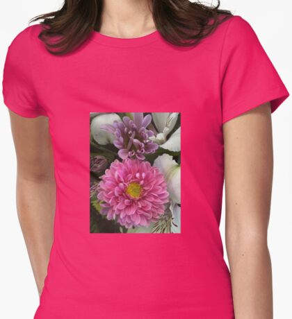 Pink and Purple Flowers with Lilies Womens Fitted T-Shirt