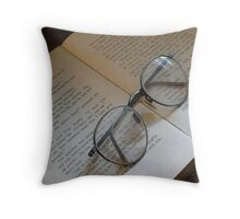 """Glasses On Open Book"" Throw Pillow"