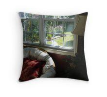 """""""Papasan Chair By Sunroom Window"""" Throw Pillow"""