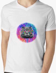 Psychedelic Trippy Cat Mens V-Neck T-Shirt